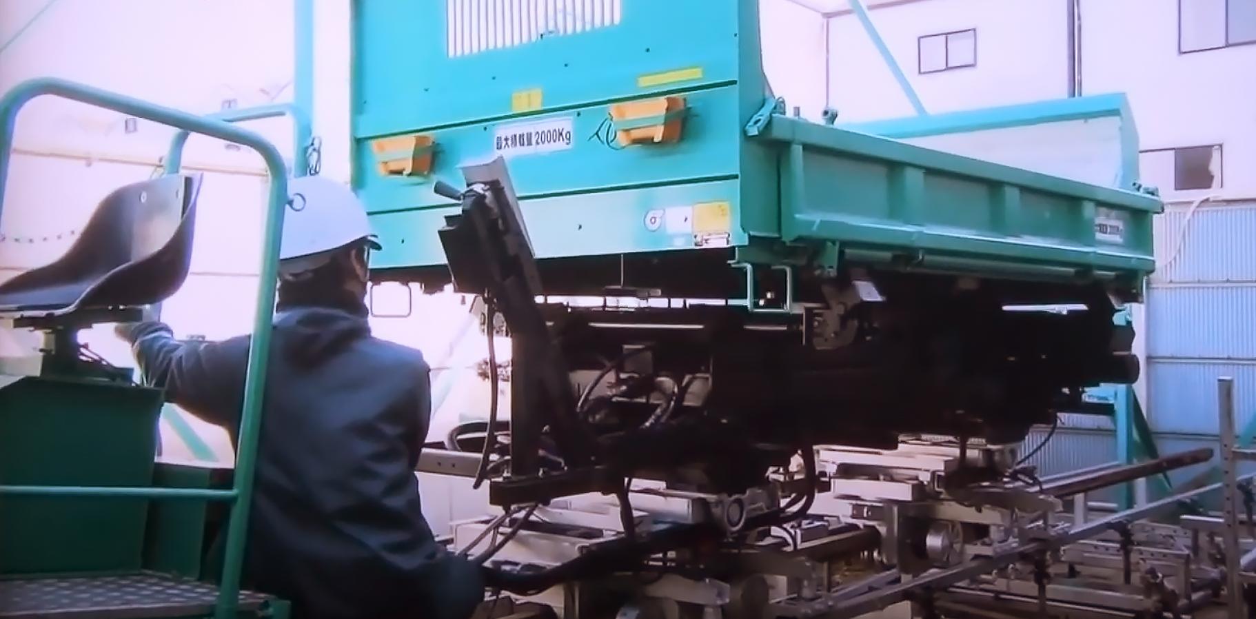 工事用大型モノレールのテストコースで動作確認と品質検査